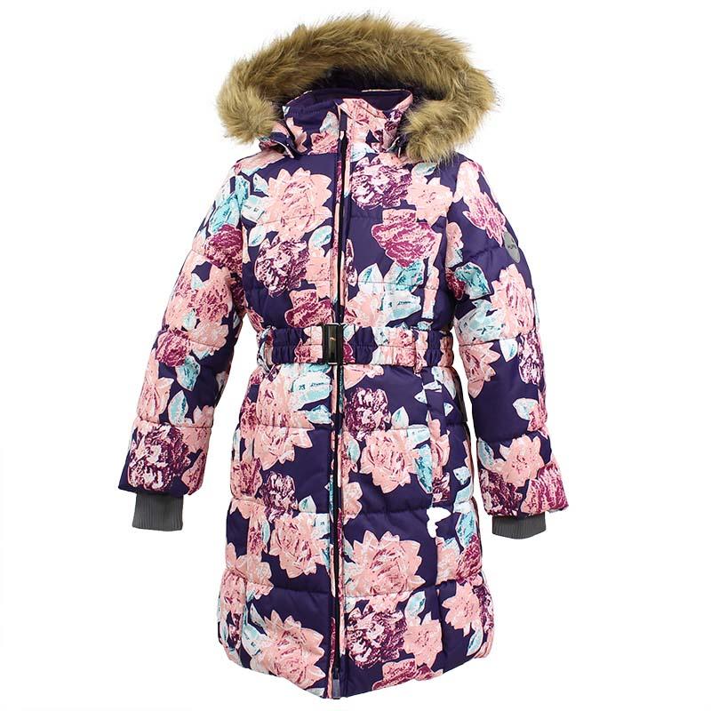 Пальто для девочки Huppa Yacaranda, цвет: темно-лилoвый. 12030030-71573. Размер 16412030030-71573Стильное пальто Huppa идеально подойдет для ребенка в прохладное время года. Модель изготовлена из полиэстера.Пальто с капюшоном и небольшим воротником-стойкой застегивается на застежку-молнию с двумя бегунками и дополнительно имеет внутренний ветрозащитный клапан, а также защиту подбородка. Капюшон оформлен мехом. Низ рукавов дополнен эластичными манжетами, не стягивающими запястья. Спереди модель дополнена двумя втачными карманами. Пальто дополнено съемным эластичным поясом.