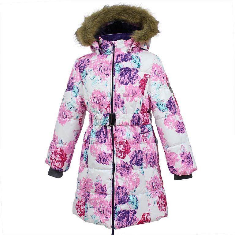 Пальто для девочки Huppa Yacaranda, цвет: белый. 12030030-71520. Размер 15212030030-71520Стильное пальто для девочки Huppa идеально подойдет для ребенка в прохладное время года. Модель изготовлена из полиэстера.Пальто с капюшоном и небольшим воротником-стойкой застегивается на застежку-молнию с двумя бегунками и дополнительно имеет внутренний ветрозащитный клапан, а также защиту подбородка. Капюшон оформлен мехом. Низ рукавов дополнен эластичными манжетами, не стягивающими запястья. Спереди модель дополнена двумя втачными карманами. Пальто дополнено съемным эластичным поясом. Модель оформлена ярким принтом.