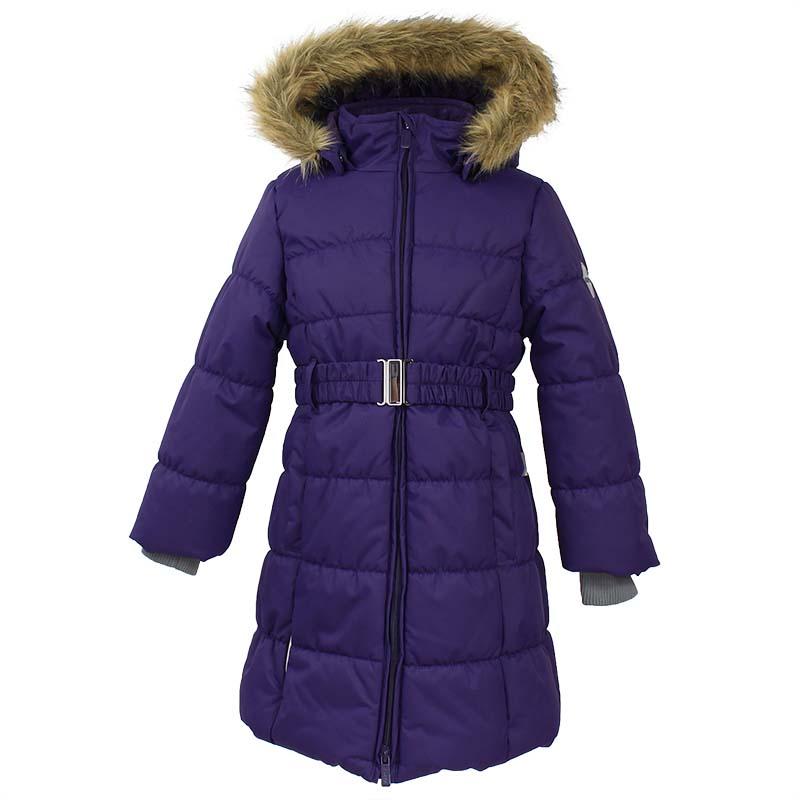 Пальто для девочки Huppa Yacaranda, цвет: темно-лилoвый. 12030030-70073. Размер 13412030030-70073Стильное пальто для девочки Huppa идеально подойдет для ребенка в прохладное время года. Модель изготовлена из полиэстера.Пальто с капюшоном и небольшим воротником-стойкой застегивается на застежку-молнию с двумя бегунками и дополнительно имеет внутренний ветрозащитный клапан, а также защиту подбородка. Капюшон оформлен мехом. Низ рукавов дополнен эластичными манжетами, не стягивающими запястья. Спереди модель дополнена двумя втачными карманами. Пальто дополнено съемным эластичным поясом.