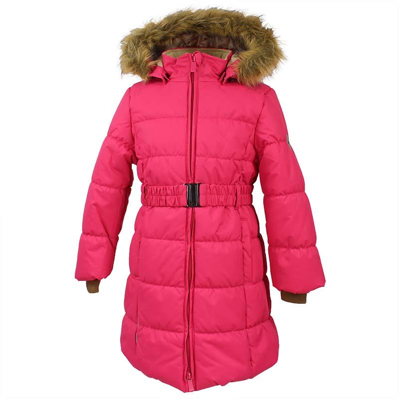 Пальто для девочки Huppa Yacaranda, цвет: фуксия. 12030030-70063. Размер 14012030030-70063Стильное пальто для девочки Huppa идеально подойдет для ребенка в прохладное время года. Модель изготовлена из полиэстера.Пальто с капюшоном и небольшим воротником-стойкой застегивается на застежку-молнию с двумя бегунками и дополнительно имеет внутренний ветрозащитный клапан, а также защиту подбородка. Капюшон оформлен мехом. Низ рукавов дополнен эластичными манжетами, не стягивающими запястья. Спереди модель дополнена двумя втачными карманами. Пальто дополнено съемным эластичным поясом. Модель оформлена ярким принтом.