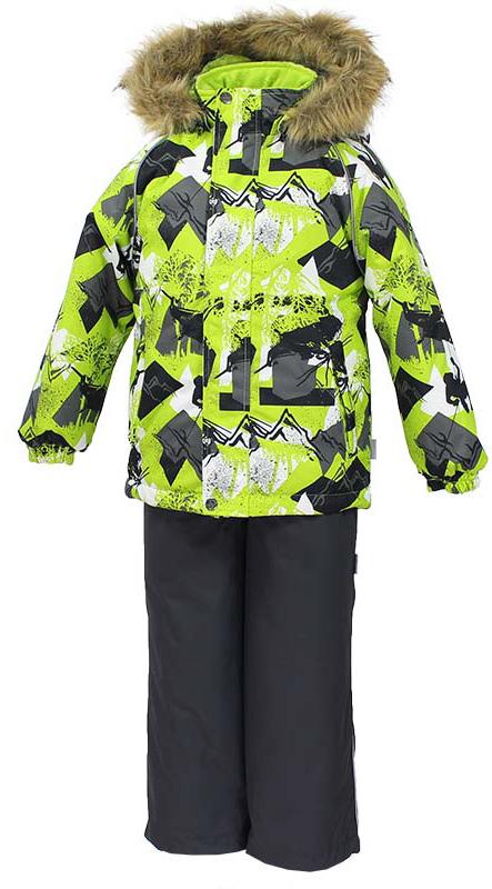 Комплект одежды детский Huppa Winter: куртка, полукомбинезон, цвет: лайм, серый. 41480030-72547. Размер 12841480030-72547Комплект одежды Huppa Winter состоит из куртки и полукомбинезона. Куртка оснащена ветрозащитной планкой по всей длине и безопасным съемным капюшоном. Полукомбинезон очень практичен: хорошо закрывает грудку и спинку ребенка, широкие эластичные регулируемые лямки. Вечерние прогулки в этом костюме будут не только приятными, но и безопасными благодаря светоотражающим элементам на куртке и полукомбинезоне.