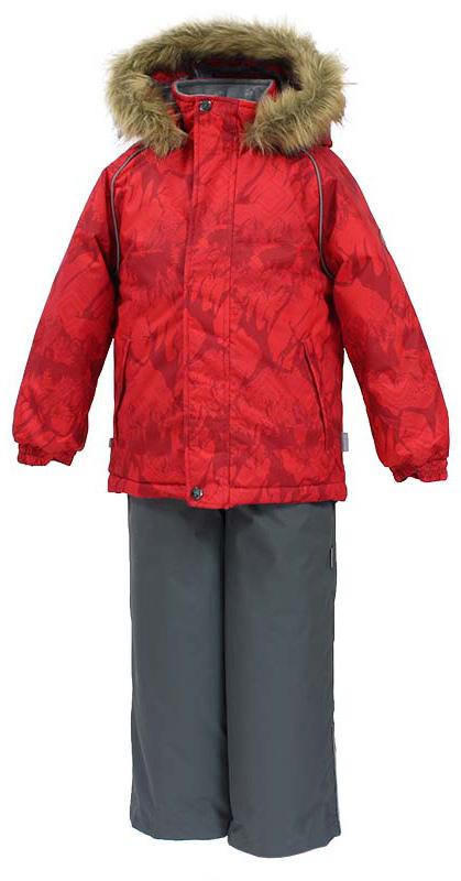 Комплект одежды детский Huppa Winter, цвет: красный, серый. 41480030-73404. Размер 11041480030-73404Детский комплект WINTER. Водо и воздухонепроницаемость 10 000. Утеплитель 300 гр куртка / 160 гр брюки. Подкладка Тафта, флис 100% полиэстер. Швы проклеены. Отстегивающийся капюшон. Манжет рукавов на резинке. Внутренняя снегозащита брюк. Регулируемые низы. Резиновые подтяжки. Имеются светоотражательные детали.