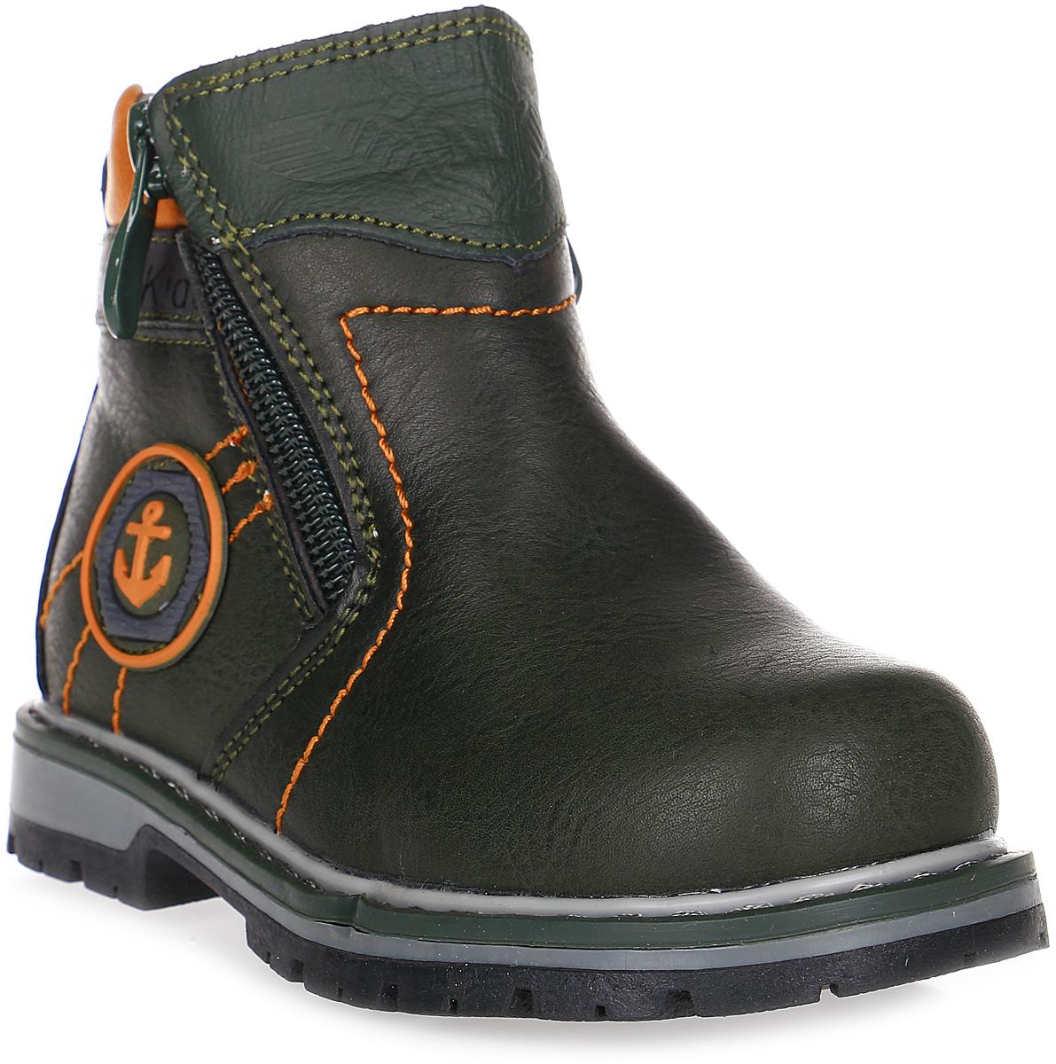 Ботинки для мальчика Счастливый ребенок, цвет: черный, оранжевый. E7126-5. Размер 26E7126-5Ботинки для мальчика Счастливый ребенок выполнены из искусственной кожи. Подошва изготовлена из легкого, гибкого и прочного термопластичного материала. Она обеспечивает отличную амортизацию и смягчает удары от соприкосновения обуви с поверхностью, а протектор подошвы создает надежное сцепление с землей или асфальтом. Внутренняя поверхность и стелька изготовлены из текстиля. Модель застегивается на молнию с двух сторон.