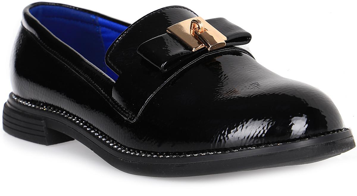 Туфли для девочки Канарейка, цвет: черный. A3062-1. Размер 35A3062-1Очаровательные туфли для девочки Канарейка, стилизованные под лоферы, станут неотъемлемой частью повседневной жизни юной модницы. Модель выполнена из искусственной лакированной кожи и оформлена бантиком с металлическим замочком и стразами по канту. Внутренняя отделка выполнена из искусственной кожи. Формованный задник обеспечивает правильную установку стопы внутри туфель, предотвращая развитие деформаций. Стелька с супинатором, изготовленная из натуральной кожи, учитывает анатомические особенности строения детской стопы, обеспечивает профилактику от развития плоскостопия и гарантирует ногам ребенка ощущение комфорта и легкости при ходьбе. Рифленая подошва с широким каблуком из легкой термопластичной резины обладает высокой прочностью и гибкостью и обеспечивает надежное сцепление с различными поверхностями.