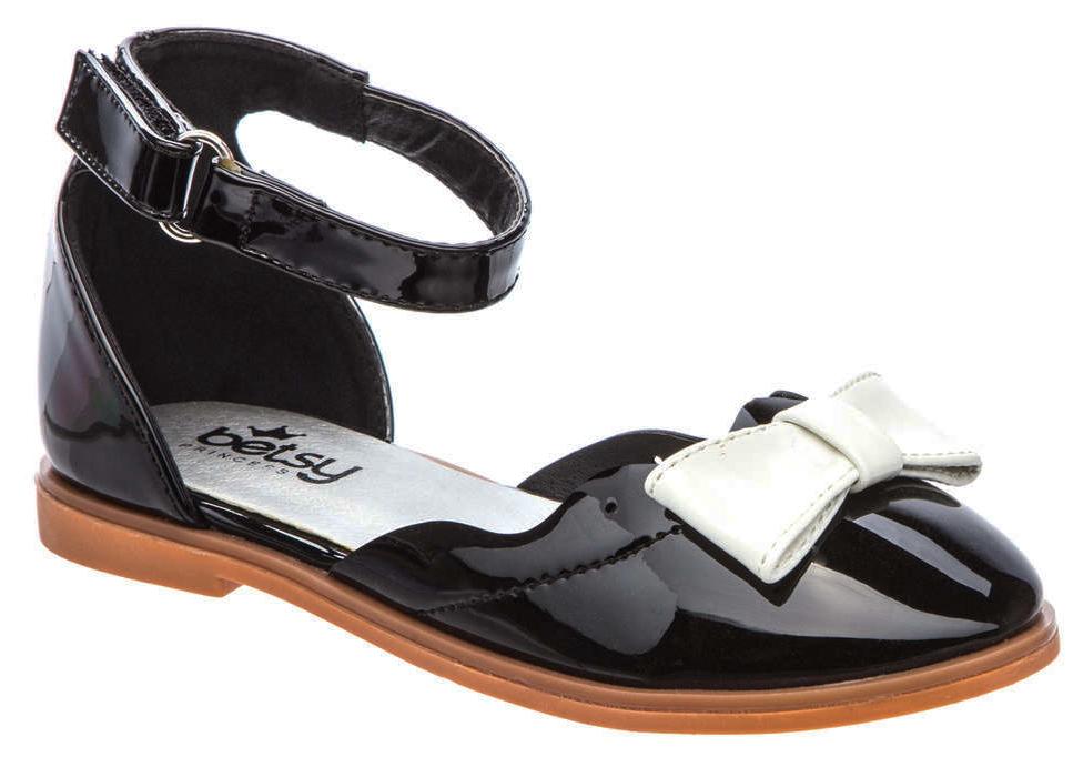 Туфли для девочки Betsy, цвет: черный, белый. 977552/01-02. Размер 26977552/01-02Модные туфли для девочки от Betsy выполнены из искусственной кожи и дополнены на мысе бантиком. Ремешок с застежкой-липучкой надежно зафиксирует ножку ребенка. Внутренняя поверхность и стелька из натуральной кожи гарантируют комфорт при движении. Подошва и невысокий каблук с рифлением гарантируют отличное сцепление с различными поверхностями. Модные туфли покорят своим оригинальным дизайном и удобством.