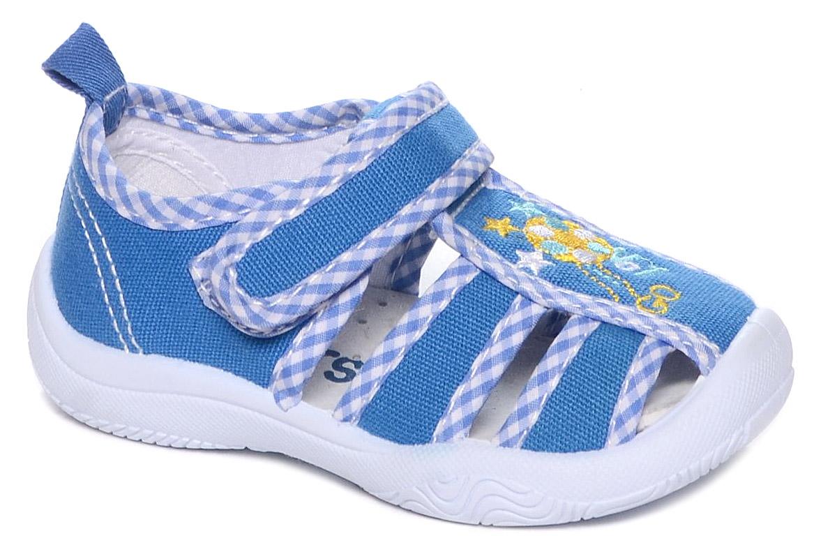 Сандалии для мальчиков Mursu, цвет: голубой. 101223. Размер 20101223Сандалии для мальчика Mursu выполнены из текстиля, оформленного оригинальными рисунками. Удобная застежка-липучка обеспечивает практичность и комфортную фиксацию модели на ноге. Рифление на подошве гарантирует идеальное сцепление с любой поверхностью. На заднике предусмотрена петелька для удобства обувания.
