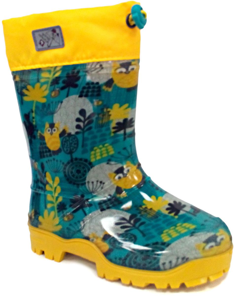 Сапоги резиновые детские Дюна, цвет: зеленый, желтый. 264/02 РУ НТП. Размер 35264/02 РУ НТПРезиновые сапоги Дюна - идеальная обувь в холодную дождливую погоду для вашего ребенка. Сапоги выполнены из качественной резины. Голенище оформлено принтом. Подкладка и стелька из текстиля обеспечат комфорт. Текстильный верх голенища регулируется в объеме за счет шнурка со стоппером. Подошва дополнена рифлением.
