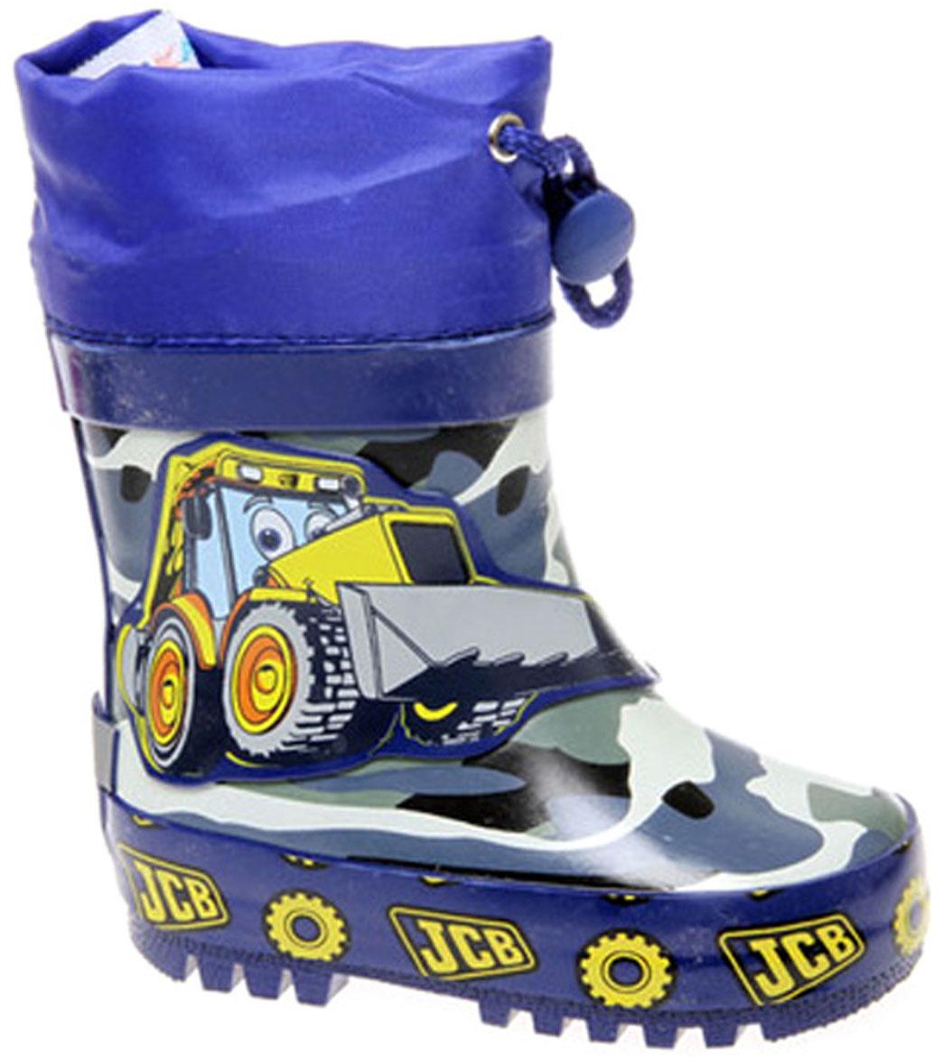 Сапоги резиновые для мальчика Сказка, цвет: синий, желтый. S24015. Размер 23S24015Ультрамодные сапоги для мальчика от Сказка изготовлены из резины и оформлены камуфляжным принтом, изображением мультяшного экскаватора и задним наружным ремнем. Низ изделия, исполненный в одной стилистике с верхом, декорирован надписями и изображениями автомобильных шин. Отсутствие застежек компенсировано объемом голенища. Текстильный верх голенища регулируется в объеме за счет шнурка с бегунком. Мягкая подкладка и стелька, выполненные из текстиля, отвечают за максимальный комфорт при движении. Ярлычок, расположенный на голенище, облегчает процесс надевания и снимания сапог. Резиновая подошва дополнена глубоким рисунком протектора.