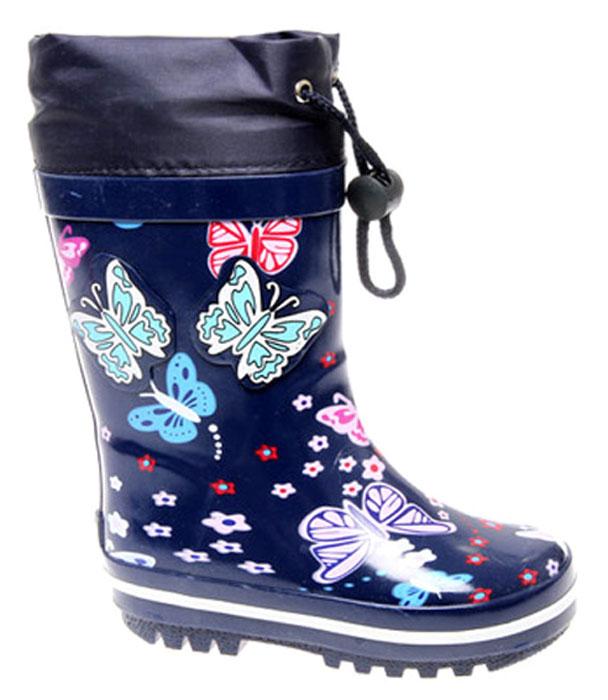 Сапоги резиновые для девочки Сказка, цвет: темно-синий. S24330. Размер 27S24330Прелестные сапоги для девочки от Сказка изготовлены из резины и оформлены красочным изображением бабочек и цветочков, аппликациями в виде бабочек, задним наружным ремнем. Низ изделия декорирован полоской контрастного цвета. Отсутствие застежек компенсировано объемом голенища. Текстильный верх голенища регулируется в объеме за счет шнурка с бегунком. Мягкая подкладка и стелька, выполненные из текстиля, отвечают за максимальный комфорт при движении. Ярлычок, расположенный на голенище, облегчает процесс надевания и снимания сапог. Резиновая подошва дополнена глубоким рисунком протектора.