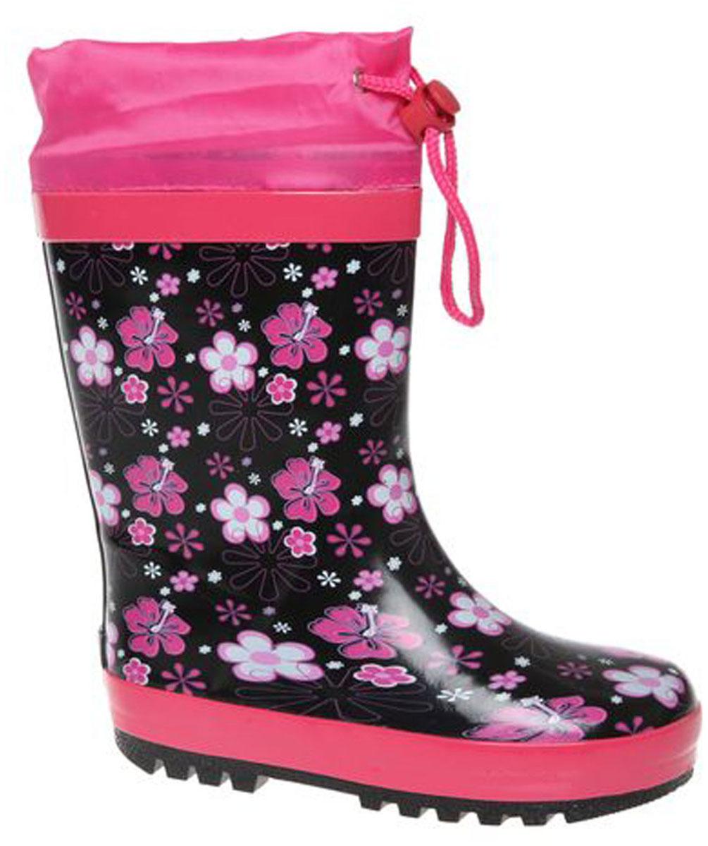 Сапоги резиновые для девочки Сказка, цвет: черный, темно-розовый, сиреневый. S24601. Размер 35S24601Стильные сапоги для девочки от Сказка изготовлены из резины и оформлены узором в цветочек и задним наружным ремнем. Отсутствие застежек компенсировано объемом голенища. Текстильный верх голенища регулируется в объеме за счет шнурка с бегунком. Мягкая подкладка и стелька, выполненные из текстиля, отвечают за максимальный комфорт при движении. Ярлычок, расположенный на голенище, облегчает процесс надевания и снимания сапог. Резиновая подошва дополнена глубоким рисунком протектора.