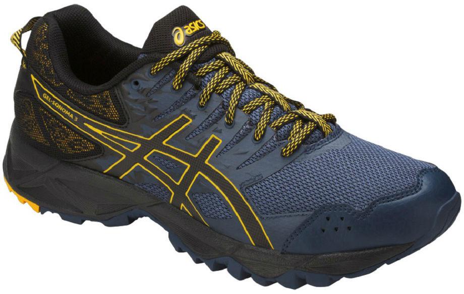 Кроссовки мужские Asics Gel-Sonoma 3, цвет: синий, черный. T724N-5090. Размер 13 (46,5)T724N-5090В беге по пересечённой местности необходимо всю энергию сконцентрировать на достижении цели и наслаждаться моментом и великолепным пейзажем вокруг. Мужские кроссовки Asics Gel-Sonoma 3 G-Tx - это обувь, которая имеет в своем арсенале все необходимое для изменчивых, непостоянных условий кросса. С ними вы можете достигнуть всех своих целей. Эти чрезвычайно прочные кроссовки, учитывающие все особенности бега по пересеченной местности, обеспечат комфорт, устойчивость и поддержку на протяжении всего маршрута. Кроссовки GEL-Sonoma 3 G-TX предназначены для кросса на короткие и средние расстояния и по любой поверхности. Гелевый амортизатор в задней части подошвы, технология EVA для средней части и светоотражатели 3M обеспечивают надежную защиту, а внешняя поверхность подошвы со стабилизацией для кросса гарантирует стабильность и поддержку на любой поверхности.