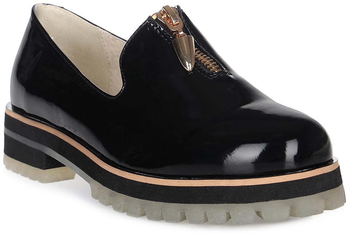Туфли для девочки Keddo, цвет: черный. 578161/50-01. Размер 35578161/50-01Удобные туфли от фирмы Keddo покорят вашу юную модницу с первого взгляда! Модель выполнена из искусственной лакированной кожи и дополнена контрастной линией вдоль ранта. Внутренняя поверхность и стелька из натуральной кожи не натирают. Изделие дополнено спереди застежкой-молнией. Подошва с рифлением обеспечивает идеальное сцепление с любыми поверхностями. Стильные туфли займут достойное место в гардеробе вашей девочки.