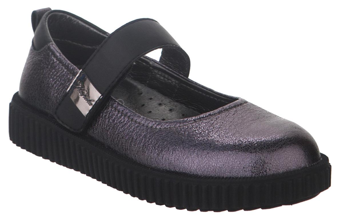 Туфли для девочки Kapika, цвет: серый. 23484к-1. Размер 3423484к-1Туфли от Kapika выполнены из натуральной и искусственной кожи. Модель оформлена мелким теснением и на ремешке фирменной нашивкой. Ремешок с застежкой-липучкой надежно зафиксирует ногу, не давая ей смещаться в разные стороны. Внутренняя поверхность и стелька из натуральной кожи обеспечивают комфорт при движении. Рифленая поверхность подошвы обеспечивает отличное сцепление с любой поверхностью. Стильные туфли - незаменимая вещь в гардеробе вашей девочки.