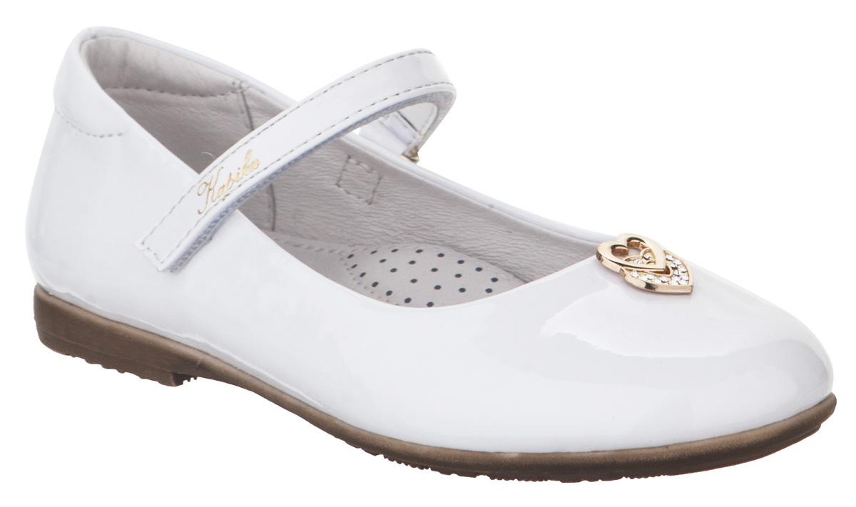 Туфли для девочки Kapika, цвет: белый. 92063в-1. Размер 2892063в-1Туфли от Kapika выполнены из искусственной кожи. Модель оформлена на мысе декоративным элементом. Ремешок с застежкой-липучкой надежно зафиксирует ногу, не давая ей смещаться в разные стороны. Внутренняя поверхность и стелька из натуральной кожи обеспечивают комфорт при движении. Рифленая поверхность подошвы обеспечивает отличное сцепление с любой поверхностью. Стильные туфли - незаменимая вещь в гардеробе вашей девочки.