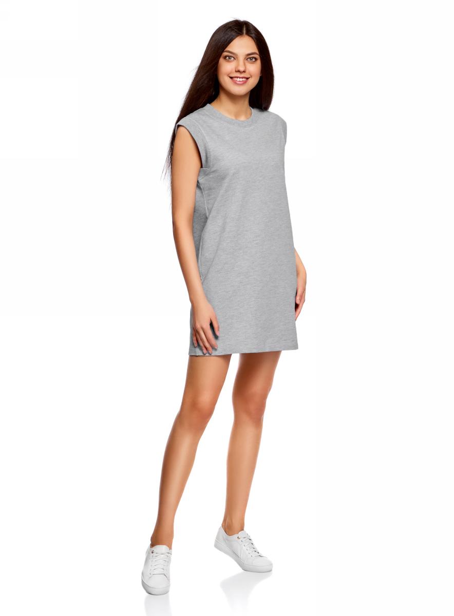 Платье oodji Ultra, цвет: серый меланж. 14008015-3B/47481/2300M. Размер XXS (40)14008015-3B/47481/2300MКороткое платье oodji изготовлено из качественного плотного материала. Удобная модель выполнена с круглым вырезом и без рукавов.