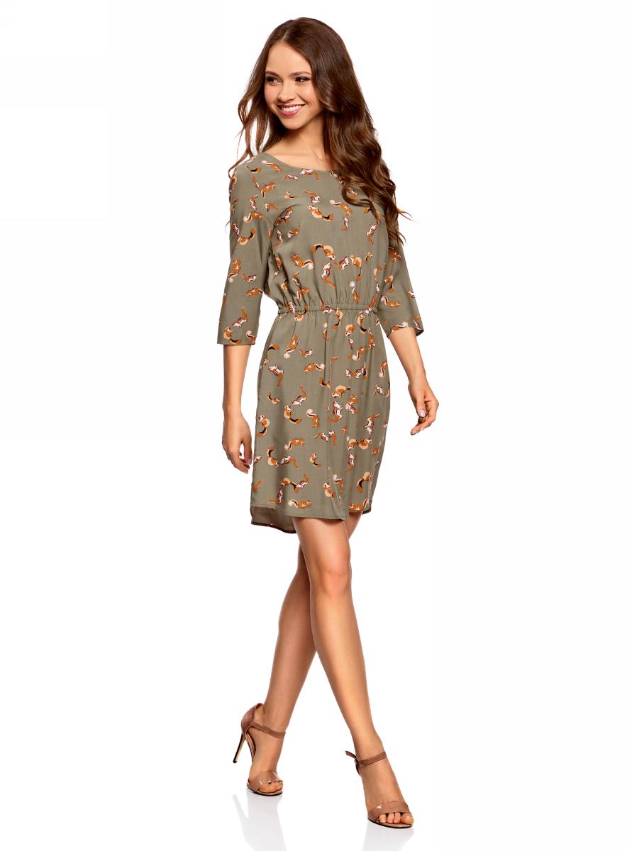 Платье oodji Ultra, цвет: темный хаки, темно-оранжевый. 11901153-1B/42540/6859A. Размер 44 (50-170)11901153-1B/42540/6859AПлатье oodji изготовлено из качественного материала. Модель выполнена с рукавами 3/4 и круглым вырезом горловины. Платье-миди на талии собрано на внутреннюю резинку.