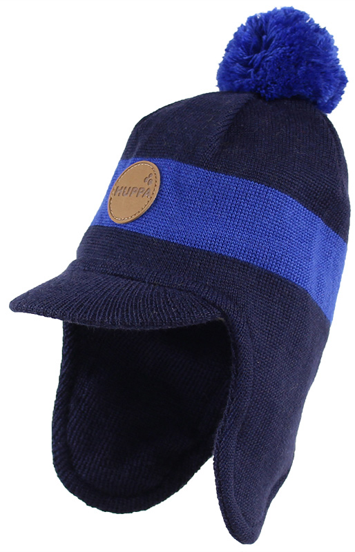 Шапка детская Huppa Peak, цвет: темно-синий, синий. 80340000-70086. Размер L (55/57)80340000-70086Теплая шапка Huppa Peak выполнена из мериносовой шерсти с добавлением акрила. Подкладка выполнена из натурального хлопка. Модель дополнена небольшим помпоном и козырьком. Шапка оснащена ветрозащитными вставками в области ушей.Уважаемые клиенты! Обращаем ваше внимание на тот факт, что размер, доступный для заказа, является обхватом головы.