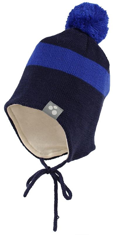 Шапка детская Huppa Viiro 1, цвет: темно-синий, синий. 83620100-70086. Размер L (55/57)83620100-70086Теплая шапка Huppa Viiro 1 выполнена из мериносовой шерсти с добавлением акрила. Подкладка выполнена из натурального хлопка. Модель дополнена небольшим помпоном и оснащена завязками.Уважаемые клиенты! Обращаем ваше внимание на тот факт, что размер, доступный для заказа, является обхватом головы.