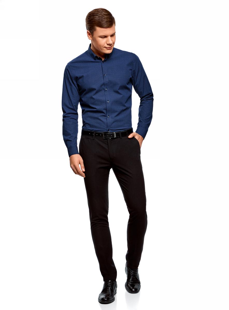 Рубашка мужская oodji Basic, цвет: темно-синий, синий. 3B110019M/44425N/7975G. Размер 41 (50-182)3B110019M/44425N/7975GКлассическая мужская рубашка oodji с длинными рукавами изготовлена из натурального хлопка. Рубашка застегивается на пуговицы, манжеты рукавов дополнены застежками-пуговицами.