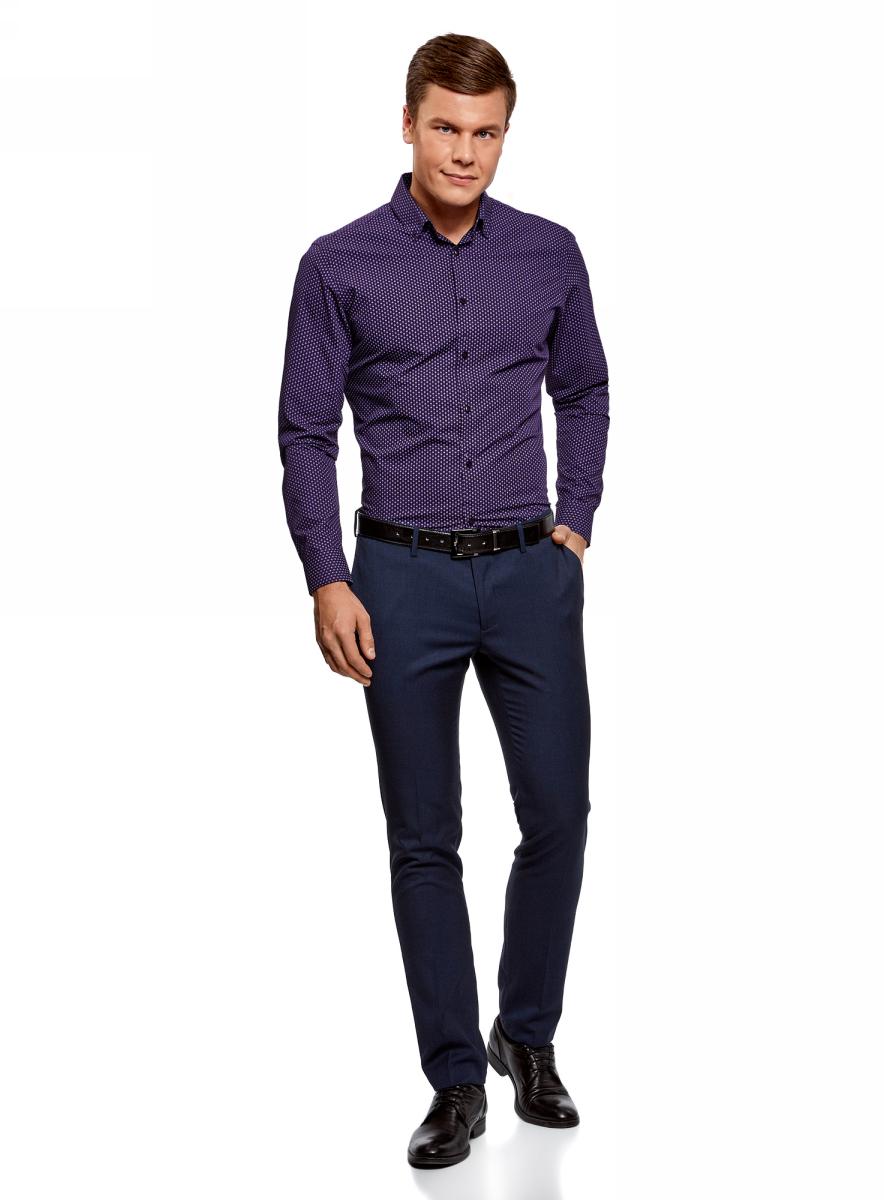 Рубашка мужская oodji Basic, цвет: темно-фиолетовый, сиреневый. 3B110019M/44425N/8880G. Размер 38 (44-182)3B110019M/44425N/8880GКлассическая мужская рубашка oodji с длинными рукавами изготовлена из натурального хлопка. Рубашка застегивается на пуговицы, манжеты рукавов дополнены застежками-пуговицами.