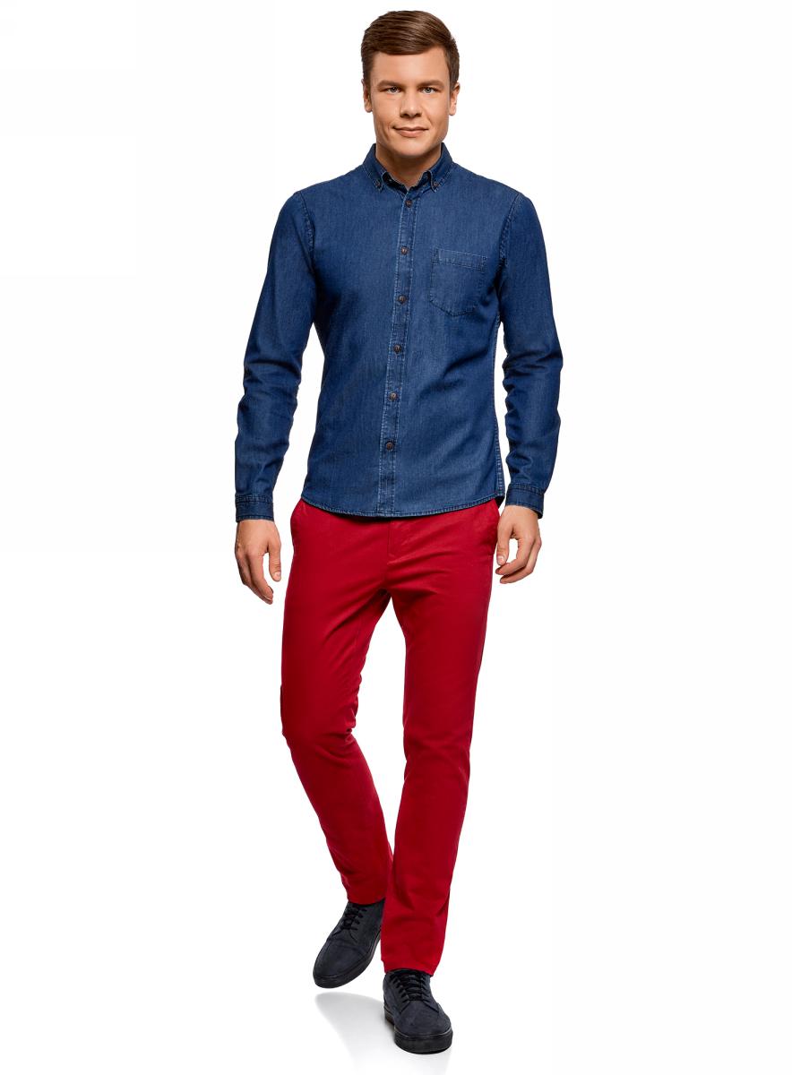 Рубашка мужская oodji Lab, цвет: синий джинс. 6L410001M/35771/7500W. Размер L (52/54-182)6L410001M/35771/7500WМужская джинсовая рубашка oodji с длинными рукавами изготовлена из натурального хлопка. Рубашка застегивается на пуговицы, на груди имеется накладной карман. Манжеты рукавов и воротник дополнены застежками-пуговицами.