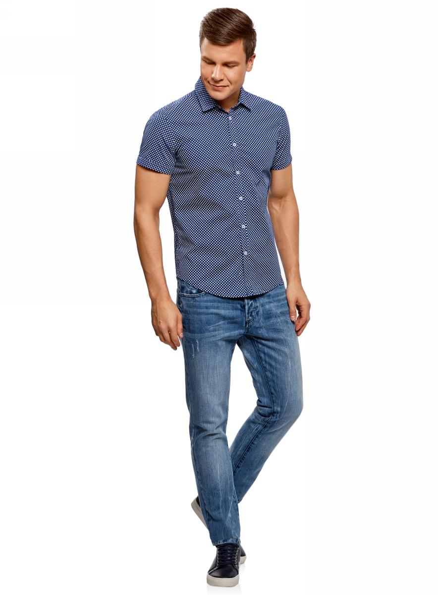 Рубашка мужская oodji Lab, цвет: синий, белый, графика. 3L410108M/39312N/7510G. Размер XL (56-182)3L410108M/39312N/7510GМужская рубашка oodji выполнена из натурального хлопка. Модель с короткими рукавами и отложным воротником застегивается на пуговицы. Натуральный хлопок приятен на ощупь, не раздражает кожу, дышит.