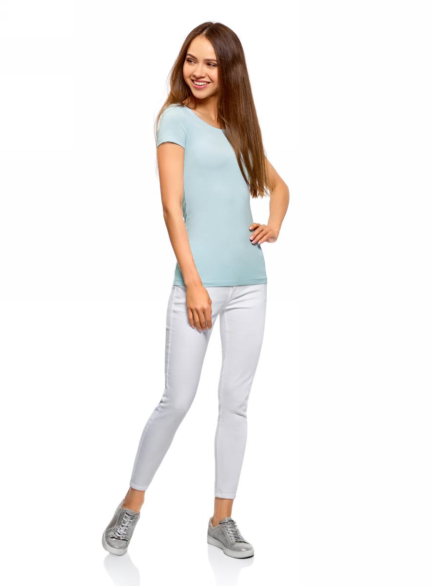 Футболка женская oodji Ultra, цвет: голубой, 2 шт. 14701005T2/46147/7001N. Размер M (46)14701005T2/46147/7001NЖенская футболка oodji Ultra выполнена из эластичного хлопка. Модель с круглым вырезом горловины и стандартными короткими рукавами.Комплект из двух футболок - практичное решение для тех, кто ценит удобство. Такая футболка станет основой для создания стильного спортивного комплекта. В ней можно заниматься спортом, гулять с домашним питомцем. Ее удобно носить в качестве домашней одежды. Футболки хорошо сочетаются с трикотажными спортивными брюками, шортами, бриджами, юбками.Прекрасная модель для самых разных случаев!