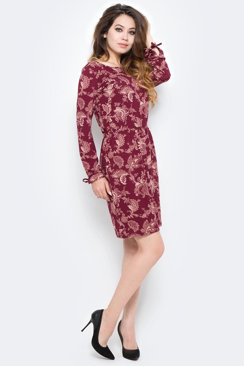 Платье Sela, цвет: красный. DK-117/1213-7380. Размер S (44)DK-117/1213-7380Стильное платье Sela, выполненное из высококачественного материала, приятное на ощупь, не сковывает движения и позволяет коже дышать, обеспечивая комфорт. Модель свободного кроя с круглым вырезом горловины и длинными рукавами. Это модное платье станет отличным дополнением к вашему гардеробу!