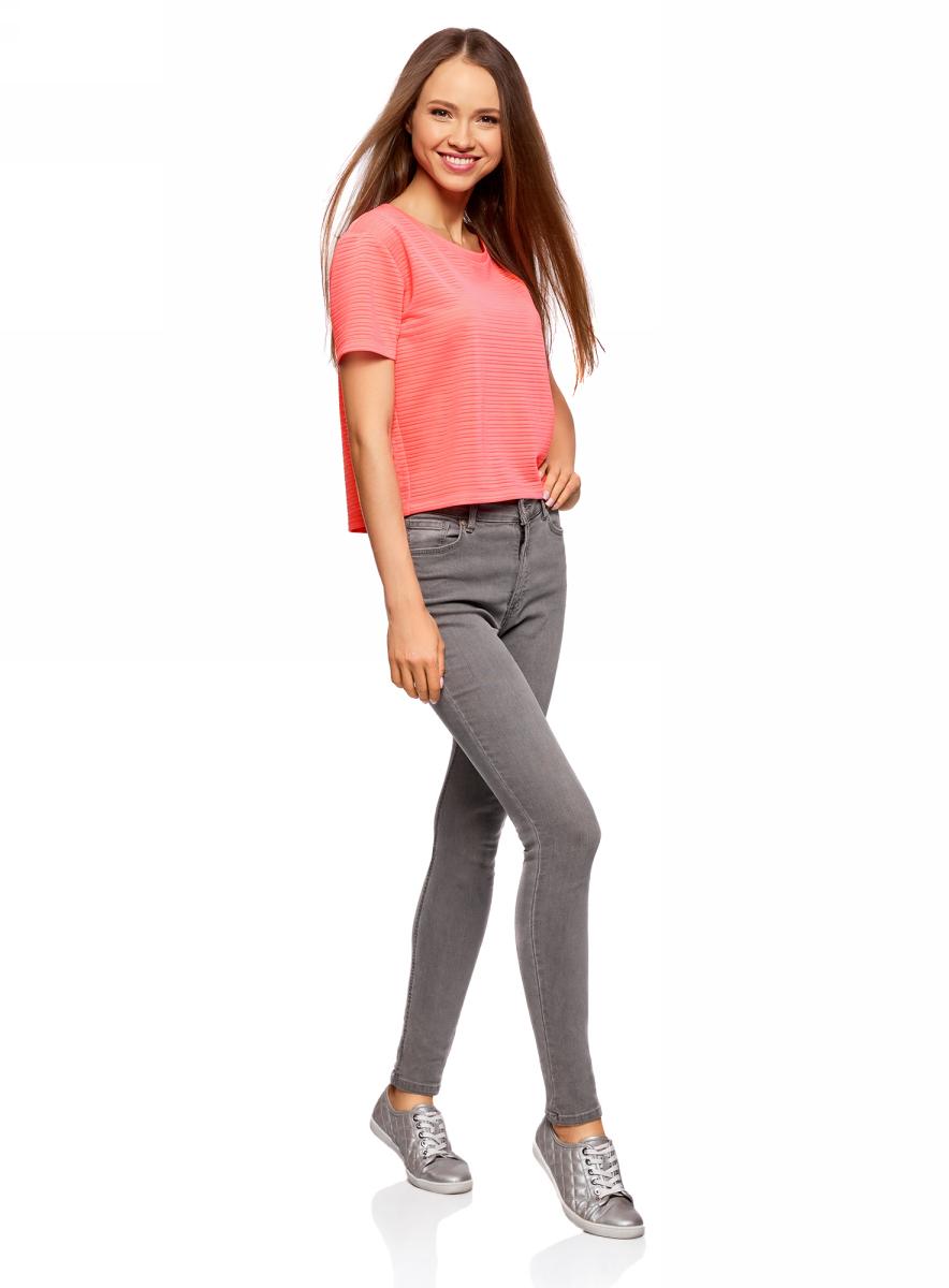 Футболка женская oodji Ultra, цвет: ярко-розовый. 15F01002-2/46690/4D00N. Размер L (48)15F01002-2/46690/4D00NПолупрозрачная женская футболка oodji с короткими рукавами и круглым вырезом горловины выполнена из полиэстера с добавлением эластана. Отличная модель для повседневной носки.