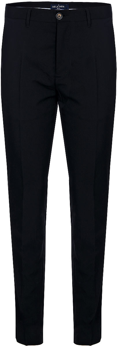 Брюки мужские Sela, цвет: черный. P-415/043-7310. Размер 48P-415/043-7310Мужские брюки Sela выполнены из качественного материала. Классическая модель на талии застегивается на пуговицу и имеет ширинку на застежке-молнии. На поясе имеются шлевки для ремня. Брюки оформлены спереди двумя втачными карманами с косыми срезами и двумя втачными карманами сзади.