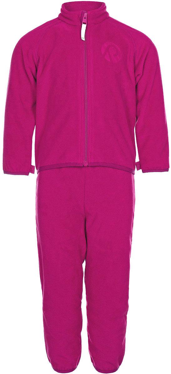 Комплект одежды детский Reima Etamin: кофта, брюки, цвет: фуксия. 5163163560. Размер 985163163560В холодную погоду рекомендуется под верхнюю одежду носить теплый, но при этом дышащий флисовый промежуточный слой. Этот комплект из полярного флиса для малышей хорошо согреет малыша, но жарко в нем не будет. Комплект – необычайно легкий, но при этом теплый и быстросохнущий, а материал, из которого он сшит, отводит влагу от кожи в верхние слои одежды. Комплект, состоящий из кофты и брюк, очень удобно носить в детский сад: он послужит теплым промежуточным слоем во время игр на улице, и его можно носить в помещении. А если вдруг станет жарко, всегда можно снять верхнюю часть. Флисовая кофта снабжена молнией во всю длину, поэтому легко надевается. Удлиненная спинка закрывает поясницу, а защита для подбородка не дает поцарапаться об зубчики молнии. С помощью системы кнопок Play Layers этот комплект можно присоединить к многим моделям верхней одежды Reima.