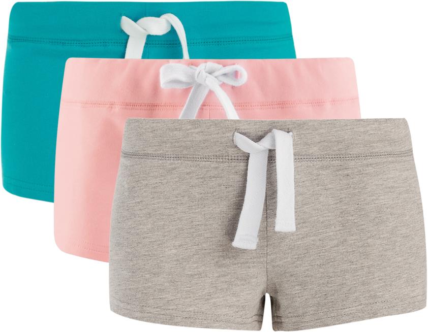 Шорты женские oodji Ultra, цвет: бирюзовый, розовый, серый, 3 шт. 17001029T3/46155/19B4N. Размер XL (50)17001029T3/46155/19B4NУдобные женские шорты oodji Ultra изготовлены из натурального хлопка.Шорты стандартной посадки имеют эластичный пояс на талии, дополненный шнурком.