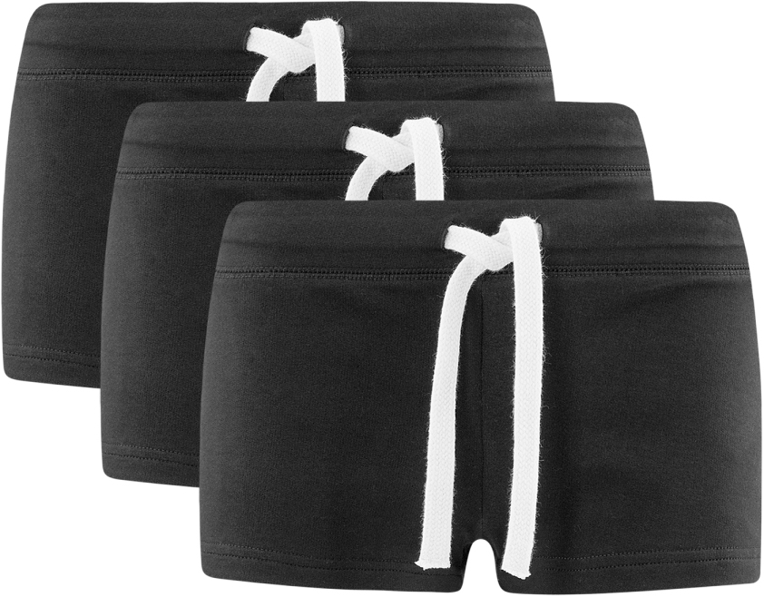 Шорты женские oodji Ultra, цвет: черный, 3 шт. 17001029T3/46155/2900N. Размер M (46)17001029T3/46155/2900NУдобные женские шорты oodji Ultra изготовлены из натурального хлопка.Шорты стандартной посадки имеют эластичный пояс на талии, дополненный шнурком.