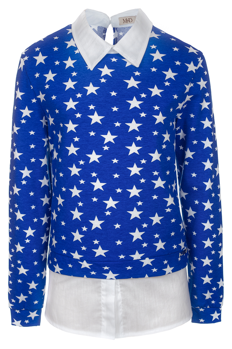 Джемпер для девочки M&D, цвет: темно-синий. WJK27003S29. Размер 158WJK27003S29Стильный джемпер для девочки выполнен из натурального хлопка. Модель с отложным воротником и длинными рукавами выполнен в виде имитации рубашки и кофты. Сзади застегивается на пуговицу.