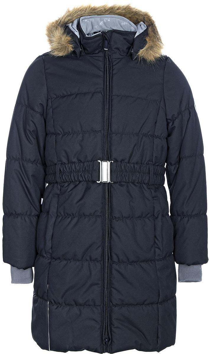 Пальто для девочки Huppa Yacaranda, цвет: черный. 12030030-70009. Размер 14612030030-70009Стильное пальто для девочки Huppa идеально подойдет для ребенка в прохладное время года. Модель изготовлена из полиэстера.Пальто с капюшоном и небольшим воротником-стойкой застегивается на застежку-молнию с двумя бегунками и дополнительно имеет внутренний ветрозащитный клапан, а также защиту подбородка. Капюшон оформлен мехом. Низ рукавов дополнен эластичными манжетами, не стягивающими запястья. Спереди модель дополнена двумя втачными карманами. Пальто дополнено съемным эластичным поясом.
