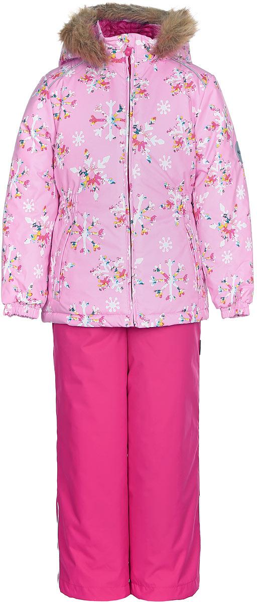 Комплект одежды для девочки Huppa Wonder: куртка, полукомбинезон, цвет: розовый, фуксия. 41950030-71613. Размер 11641950030-71613Комплект одежды Huppa Wonder состоит из куртки и полукомбинезона. Куртка оснащена ветрозащитной планкой по всей длине молнии с защитой подбородка и безопасным съемным капюшоном. Полукомбинезон очень практичен: хорошо закрывает грудку и спинку ребенка. Вечерние прогулки в этом костюме будут не только приятными, но и безопасными благодаря светоотражающим элементам на куртке и полукомбинезоне.