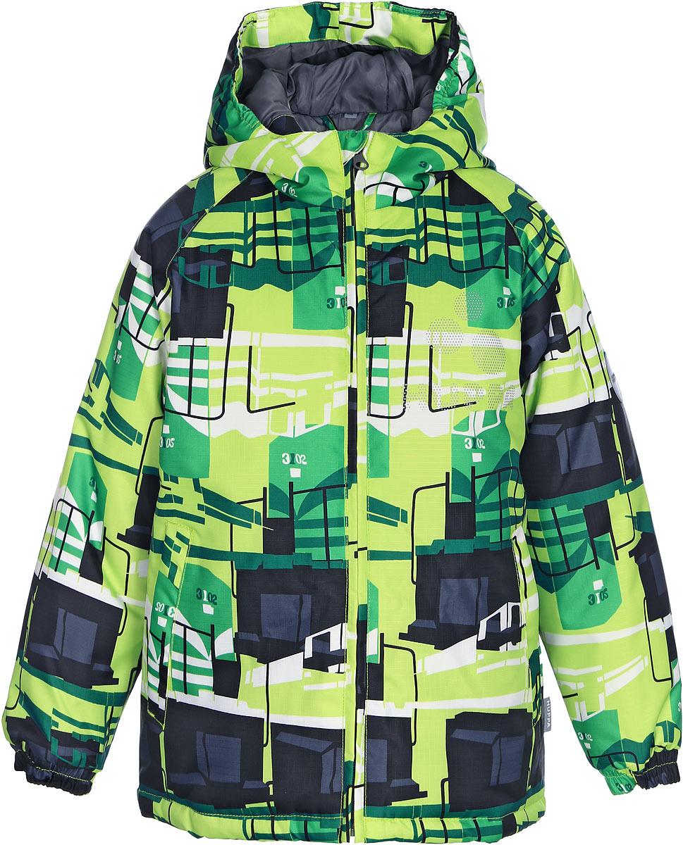 Куртка детская Huppa Classy, цвет: лайм. 17710030-847. Размер 15217710030-847Детская куртка Huppa изготовлена из водонепроницаемого полиэстера. Куртка с капюшоном застегивается на пластиковую застежку-молнию с защитой подбородка. Края капюшона и рукавов собраны на внутренние резинки. У модели имеются два врезных кармана. Изделие дополнено светоотражающими элементами.