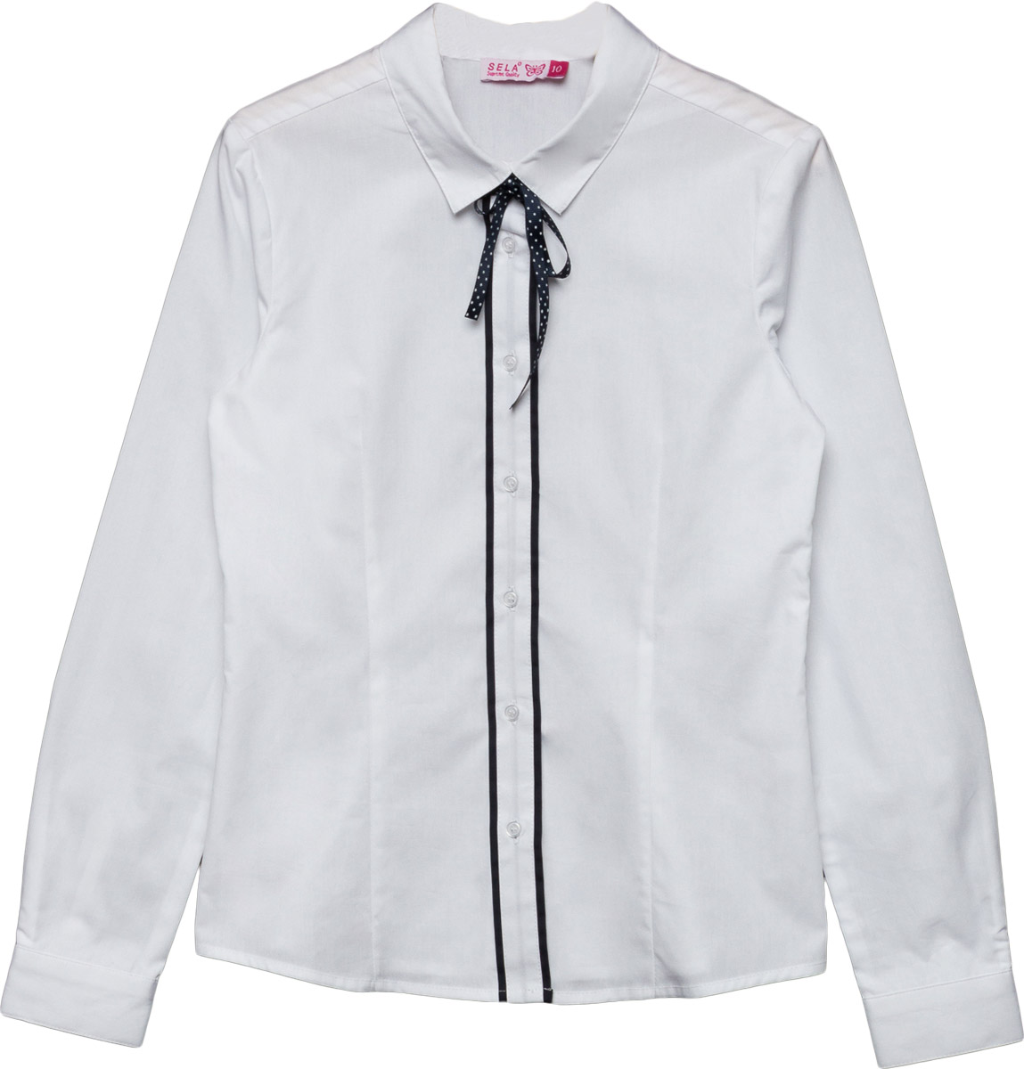 Блузка для девочки Sela, цвет: белый. B-612/869-7320. Размер 146, 11 летB-612/869-7320Классическая блузка Sela выполнена из хлопкового материала. Модель с отложным воротником и длинными рукавами застегивается на пуговицы.