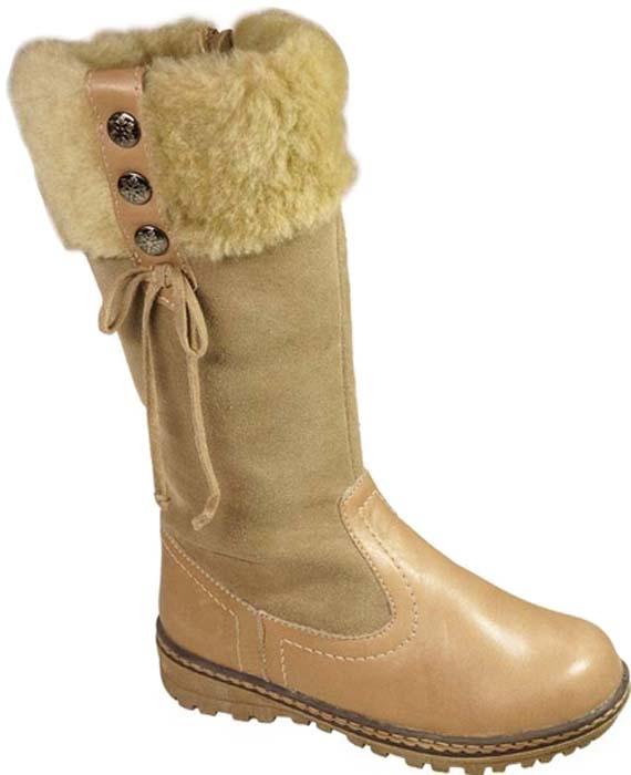 Сапоги для девочки Зебра, цвет: бежевый. 11219-8. Размер 3511219-8Теплые сапоги для девочки Зебра изготовлены из натуральной замши и натуральной кожи. Модель оформлена меховой опушкой по верхнему краю голенища и шнурком. На ноге модель фиксируется с помощью удобной застежки-молнии. Внутренняя поверхность и стелька выполнены из натурального меха, который обеспечит тепло и комфорт при носке. Подошва изготовлена из гибкого и прочного ТЭП-материала, а ее протектор гарантирует отличное сцепление с любой поверхностью.