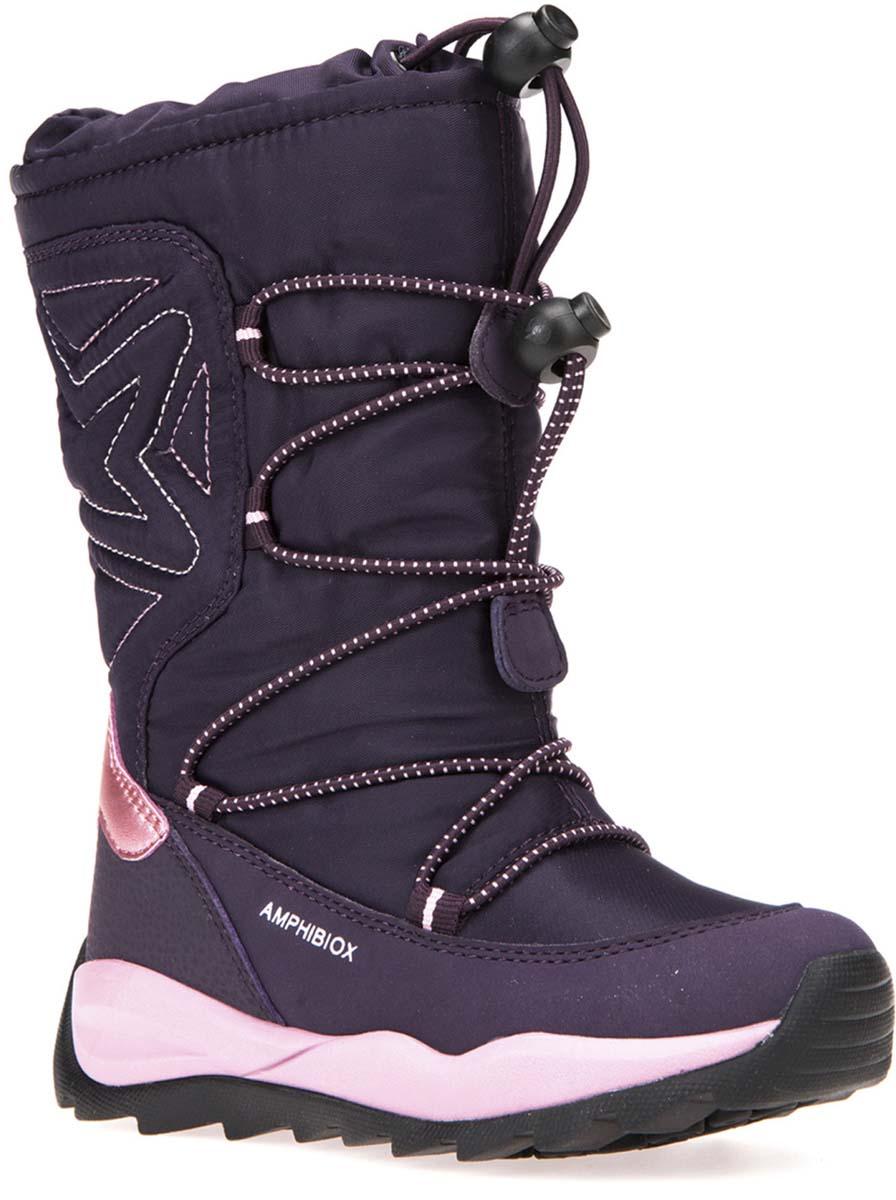 Сапоги для девочки Geox, цвет: фиолетовый. J742BB0FU50C8015. Размер 29J742BB0FU50C8015Очаровательные сапоги от Geox покорят вашего ребенка с первого взгляда. Изделие выполнено из полиуретана и оформлено прострочкой. Шнурок со стоппером обеспечивает идеальную посадку и фиксацию на ноге за счет регуляции объема голенища. Стелька из текстиля обеспечит комфорт. Подошва выполнена из прочного материала и обеспечивает надежное сцепление с любой поверхностью. Удобные сапоги - незаменимая вещь в гардеробе каждого ребенка.