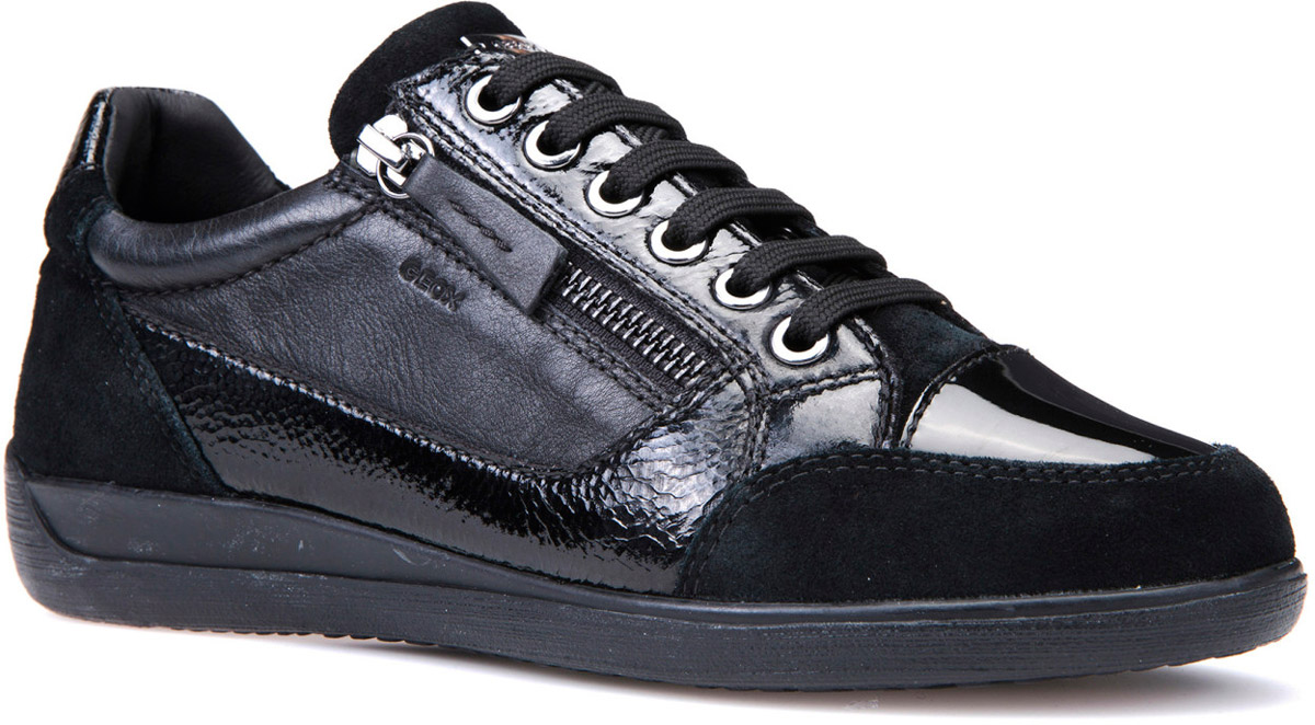 Кроссовки женские Geox, цвет: черный. D6468A0PV85C9999. Размер 38D6468A0PV85C9999Стильные женские кроссовки от Geox придутся вам по душе. Верх модели выполнен из комбинированной кожи. Классическая шнуровка и застежка-молния надежно зафиксируют изделие на ноге. Стелька из натуральной кожи обеспечивает комфорт. Подошва оснащена рифлением для лучшей сцепки с поверхностями. Удобные кроссовки займут достойное место среди коллекции вашей обуви.