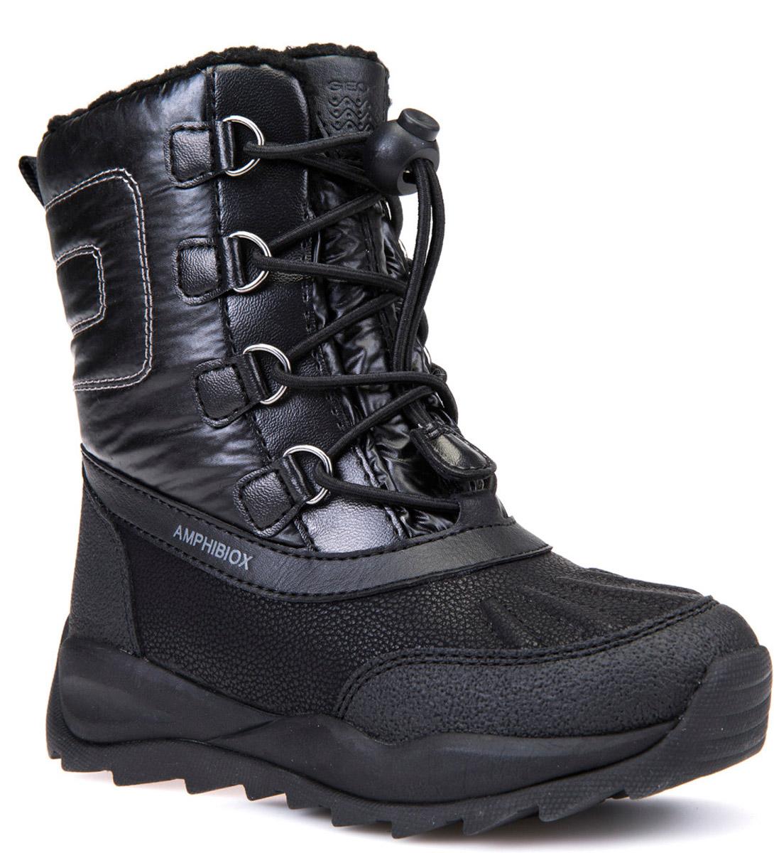 Полусапоги для девочки Geox, цвет: черный. J642BE0FU50C9999. Размер 30J642BE0FU50C9999Очаровательные полусапоги от Geox покорят вашего ребенка с первого взгляда. Изделие выполнено из полиуретана и оформлено прострочкой. Шнурок со стоппером обеспечивает идеальную посадку и фиксацию на ноге за счет регуляции объема голенища Стелька из текстиля обеспечит комфорт. Подошва выполнена из прочного материала и обеспечивает надежное сцепление с любой поверхностью. Удобные полусапоги - незаменимая вещь в гардеробе каждого ребенка.
