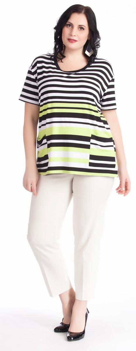 Блузка женская Averi, цвет: белый, черный, светло-зеленый. 1263. Размер 52 (56)1263Яркая блузка прямого силуэта Averi выполнена из вискозы с добавлением эластана. Модель дополнена принтом из черно-белых и зеленых полосок, их сочетание делает блузку яркой и оригинальной. Плавная, немного заниженная линия плеча, удобный короткий рукав и небольшие разрезы в боковых швах дарят комфорт и свободу движения. Накладные карманы на полочке служат хорошо заметным акцентом благодаря иному рисунку полос. Круглый вырез горловины обработан черной притачной планкой.