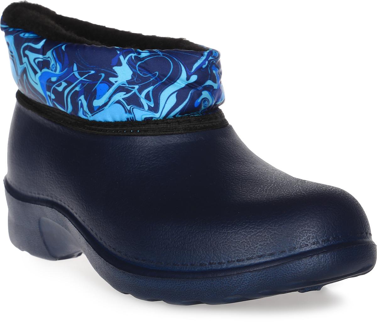 Сапоги резиновые женские Дюна, цвет: темно-синий. 320Т. Размер 38320ТПрелестные резиновые сапоги Дюна - идеальная обувь в дождливую погоду. Сапоги, выполненные из резины. Верх модели выполнен из текстиля и оформлен принтом. Подкладка и стелька из текстиля обеспечат комфорт. Подошва с рифлением гарантируют отличное сцепление с любой поверхностью. Резиновые сапоги - необходимая вещь в вашем гардеробе.