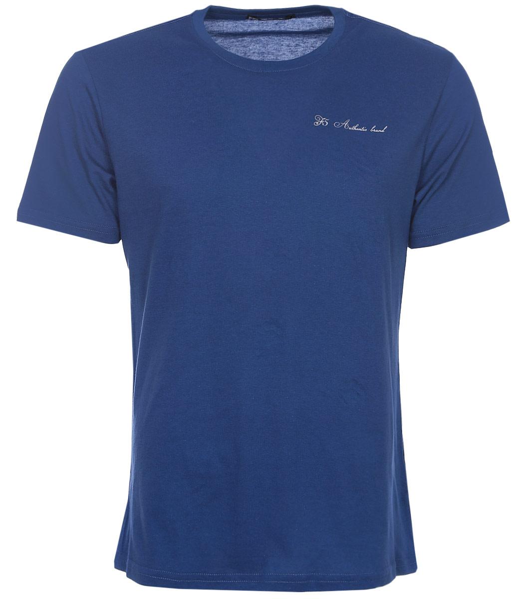 Футболка мужская F5, цвет: синий. 170095_02285. Размер XXXL (56)170095_02285/Trace, TR Plain, indigoМужская футболка F5, изготовленная из качественного материала, поможет создать модный образ и станет отличным дополнением к повседневному гардеробу. Модель полуприлегающего кроя оформлена оригинальным принтом.