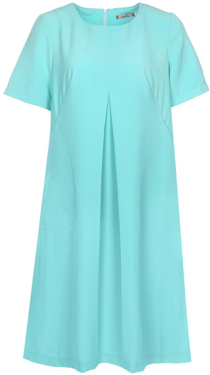 Платье Milton, цвет: ментоловый. WD-2608F. Размер 48WD-2608FПлатье А-образного силуэта с втачными короткими рукавами, по переду от груди вниз - встречная складка, в наклонных вытачках переда обработаны внутренние карманы.
