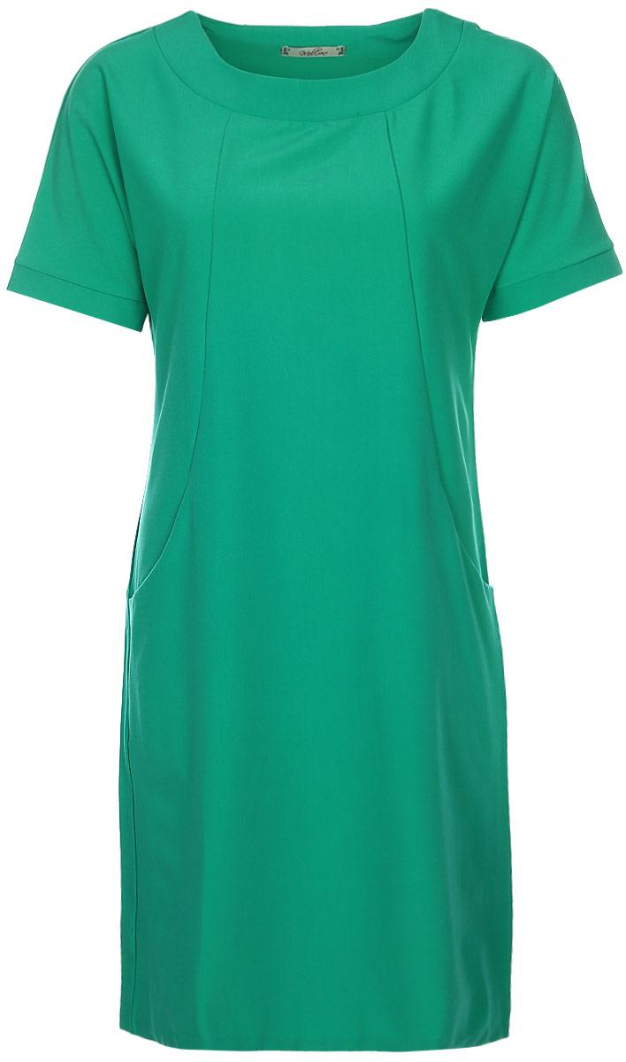 Платье Milton, цвет: зеленый. WD-2513F. Размер 50WD-2513FПлатье прямого силуэта, с цельнокроенным коротким рукавом с манжетой. На полочке, в подрезах бочка - внутренние карманы.
