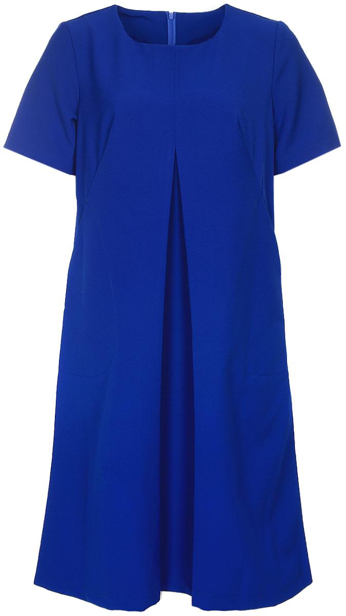 Платье Milton, цвет: синий. WD-2608F. Размер 48WD-2608FПлатье А-образного силуэта с втачными короткими рукавами, по переду от груди вниз - встречная складка, в наклонных вытачках переда обработаны внутренние карманы.