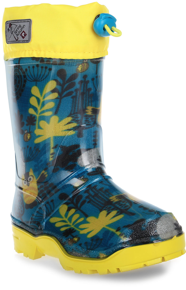Сапоги резиновые детские Дюна, цвет: желтый, зеленый. 270/02 РУ НТП. Размер 28270/02 РУ НТПРезиновые сапоги Дюна - идеальная обувь в холодную дождливую погоду для вашего ребенка. Сапоги выполнены из качественной резины. Голенище оформлено принтом. Подкладка и стелька из текстиля обеспечат комфорт. Текстильный верх голенища регулируется в объеме за счет шнурка со стоппером. Подошва дополнена рифлением.