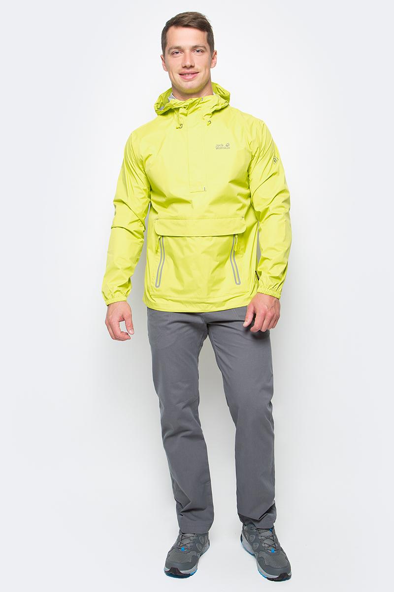 Куртка мужская Jack Wolfskin Cloudburst Smock M, цвет: желтый. 1109181-4088. Размер XXL (54)1109181-4088Куртка-анорак Cloudburst Smock изготовлена из 100% полиамида. Ткань легкая, дышащая, водонепроницаемая и непродуваемая. Модель имеет длинные стандартные рукава с манжетами на резинке, капюшон с регулировкой объема и воротник на молнии. Спереди расположен большой карман с клапаном, в котором удобно хранить карты, GPS и другие необходимые в походе вещи, а также два кармана на молнии. Такая куртка идеальна для небольших походов в лесу или в горах. Если вдруг вас застанет дождь, то не переживайте - куртка не даст вам промокнуть, и вы с комфортом доберетесь до места назначения. Модель компактно складывается и не занимает много места в рюкзаке.